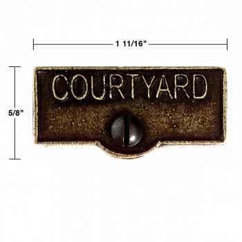 spec-<PRE>2 Switch Plate Tags COURTYARD Name Signs Labels Cast Brass </PRE>