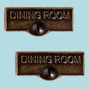2 Switch Plate Tags DINING ROOM Name Signs Labels Cast Brass Switch Plate Labels Switch Plate ID Labels Switch Plate Label