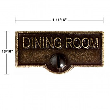 spec-<PRE>2 Switch Plate Tags DINING ROOM Name Signs Labels Cast Brass </PRE>