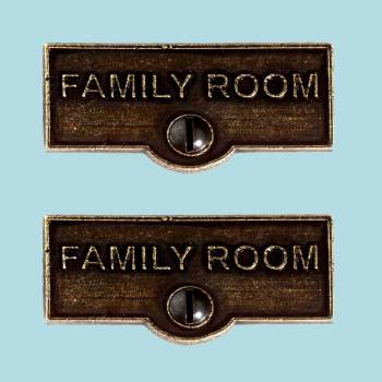 <PRE>2 Switch Plate Tags FAMILY ROOM Name Signs Labels Cast Brass </PRE>zoom2