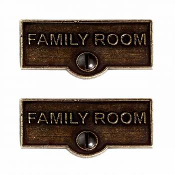 <PRE>2 Switch Plate Tags FAMILY ROOM Name Signs Labels Cast Brass </PRE>zoom1