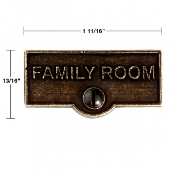spec-<PRE>2 Switch Plate Tags FAMILY ROOM Name Signs Labels Cast Brass </PRE>