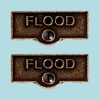 <PRE>2 Switch Plate Tags FLOOD Name Signs Labels Cast Brass </PRE>zoom2