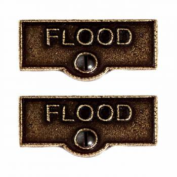 <PRE>2 Switch Plate Tags FLOOD Name Signs Labels Cast Brass </PRE>zoom1
