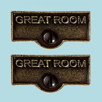 <PRE>2 Switch Plate Tags GREAT ROOM Name Signs Labels Cast Brass </PRE>zoom2