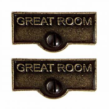 <PRE>2 Switch Plate Tags GREAT ROOM Name Signs Labels Cast Brass </PRE>zoom1