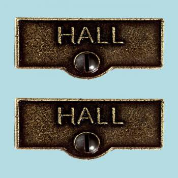 <PRE>2 Switch Plate Tags HALL Name Signs Labels Cast Brass </PRE>zoom2