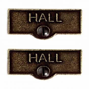 2 Switch Plate Tags HALL Name Signs Labels Cast Brass