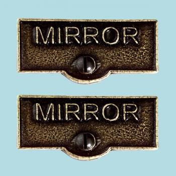 2 Switch Plate Tags MIRROR Name Signs Labels Cast Brass Switch Plate Labels Switch Plate ID Labels Switch Plate Label