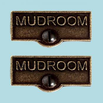 <PRE>2 Switch Plate Tags MUDROOM Name Signs Labels Cast Brass </PRE>zoom2