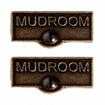 <PRE>2 Switch Plate Tags MUDROOM Name Signs Labels Cast Brass </PRE>zoom1