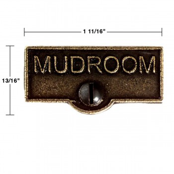 spec-<PRE>2 Switch Plate Tags MUDROOM Name Signs Labels Cast Brass </PRE>