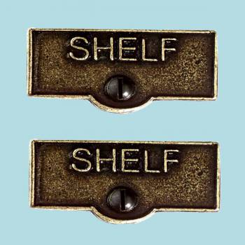 <PRE>2 Switch Plate Tags SHELF Name Signs Labels Cast Brass </PRE>zoom2