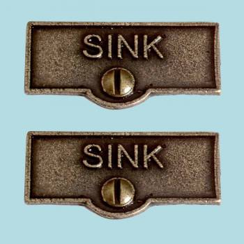 <PRE>2 Switch Plate Tags SINK Name Signs Labels Cast Brass </PRE>zoom2