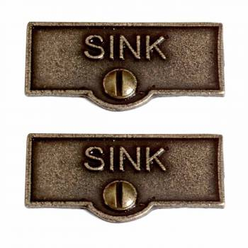 <PRE>2 Switch Plate Tags SINK Name Signs Labels Cast Brass </PRE>zoom1