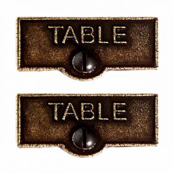 2 Switch Plate Tags TABLE Name Signs Labels Cast Brass