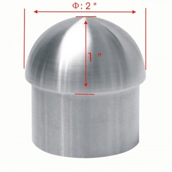 spec-<PRE>2 Handicap Rail Or Boat Bar 2&quot; Domed End Cap Stainless Steel </PRE>