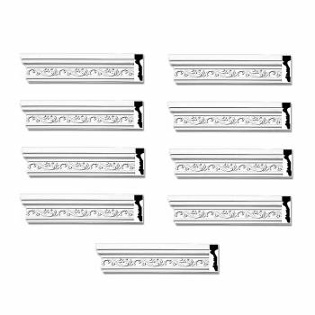 Crown Molding White Urethane 4 12 H Savannah Ornate Pack of 9 Crown Molding Crown Moldings Crown Moulding