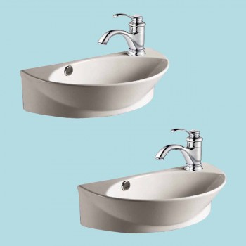 <PRE>2 Wall Mount Porcelain Sink Single Hole Faucet NOT INCLUDED </PRE>