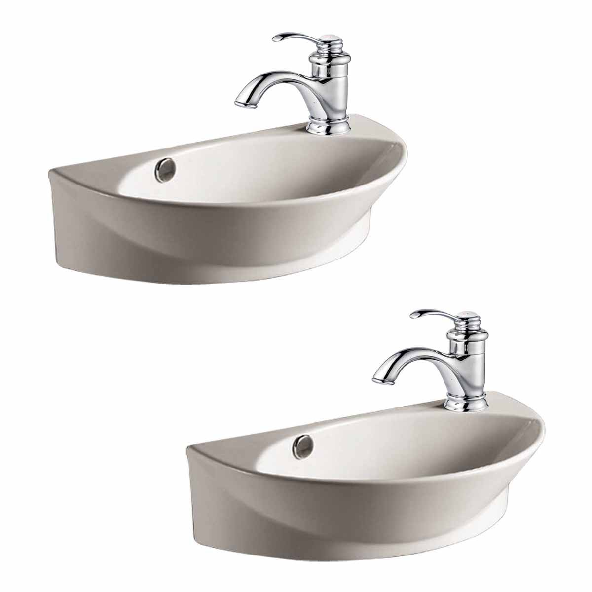 2 Wall Mount Porcelain Sink Single Hole Faucet Not Included