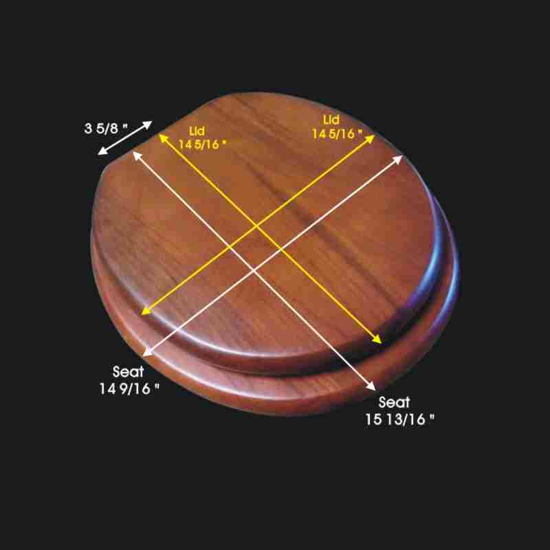 spec-<PRE>Solid Wood Toilet Seat Round Mahogany Stained Brass Hinge</PRE>