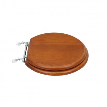 Solid Wood Toilet Seat Round Mahogany Stained Chrome Hinge Toilet Seat Toilet Seats Hard Wood Toilet Seats