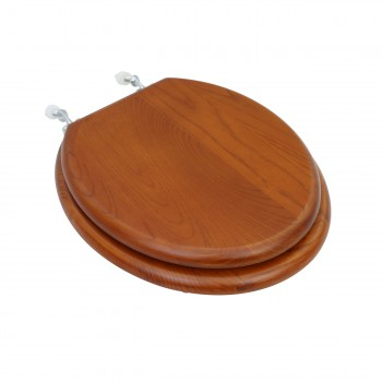 Solid Wood Toilet Seat Round Mahogany Stained Chrome Hinge
