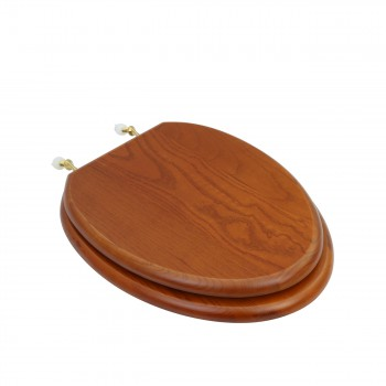 Light Mahogany Hardwood Elongated Toilet Seat with Brass Hinge