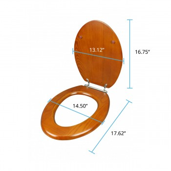 spec-<PRE>Toilet Seats Elongated Lt Mahogany Hardwood Toilet Seat Chrome Hinge</PRE>