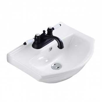 Small Wall Mount Bathroom Sink White Porcelain Space Saving31855grid