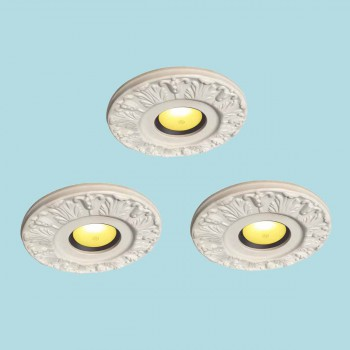 <PRE>3 Spot Light Ring White Trim 4&quot; ID x 10&quot;OD Mini Medallion </PRE>