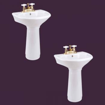 Child Porcelain White Mini Porcelain Pedestal Sink Toddler Set of 2 Kids Unique Bathroom Sink Childrens sink Modern Pedestal Sink