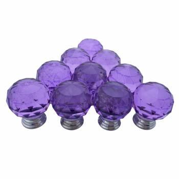 Purple Glass Cabinet Knobs 25mm Round 20 pcs