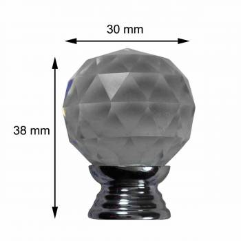 spec-<PRE>Clear Glass Cabinet Knobs 30mm Round, 1.5 inch projection 20 pcs </PRE>