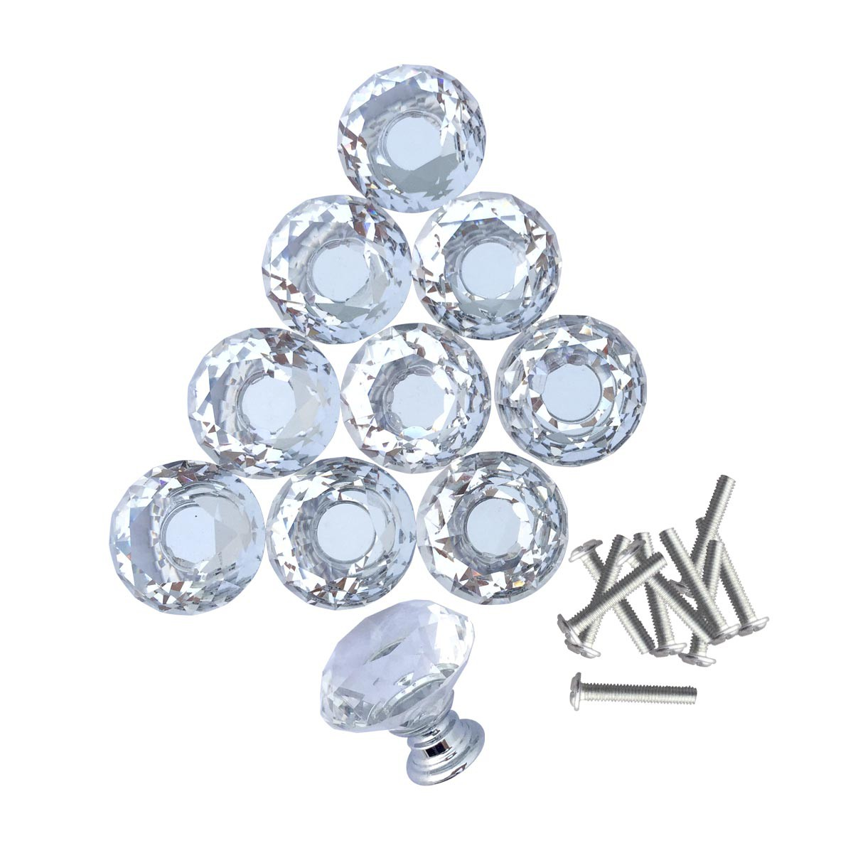 Clear Glass Cabinet Knobs 1.8 Inch Projection Mushroom 20 pcs Cabinet Hardware Cabinet Knobs Cabinet Knob