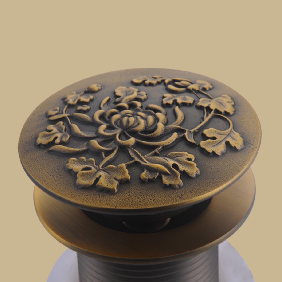 Antique Brass PopUp Sink Drain Decorative Carving Pack of 2 Sink Drain Sink Drains Bathroom Sink Drain