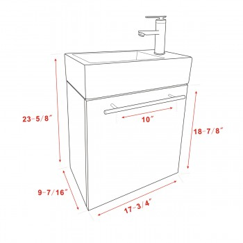 spec-<PRE>Small Wall Mount Bathroom Cabinet Vanity Square Vessel Sink </PRE>