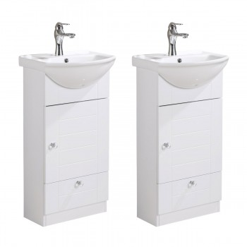 Small Bathroom Vanity with Cabinet, Faucet and Drain White China Sink Set of 2