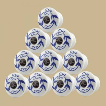 <PRE>10 Cabinet Knobs White Blue Porcelain 3/4inch Dia</PRE>zoom2