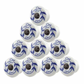 10 Cabinet Knobs White Blue Porcelain 34 Dia