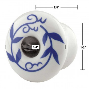 spec-<PRE>10 Cabinet Knobs White Blue Porcelain 3/4&quot; Dia</PRE>