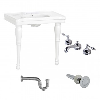 Console Sink White Porcelain with Hardwood Leg, 8