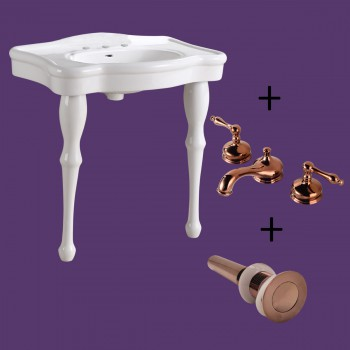 <PRE>White Console Sink China Two Spindle Legs with Rose Gold 8inch Faucet</PRE>zoom2