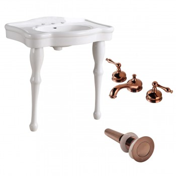 White Console Sink Porcelain Two Spindle Legs with Rose Gold 8'' Faucet32157grid