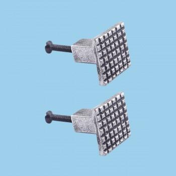 Square Grid Iron Cabinet Knob Pewter Finish Pack of 2 Cabinet Knob Iron Cabinet Knob Square Cabinet Knob