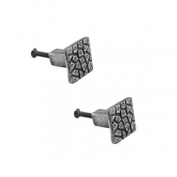 "<PRE>Square inchCobble Stone Design"" Cabinet Knob Iron Pewter Finish Pack of 2</PRE>zoom1"