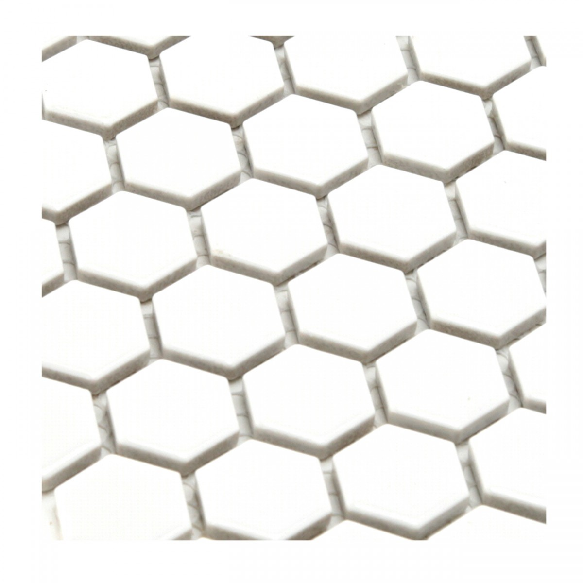 Porcelain Mosaic Hexagon Glossy White Floor and Wall Tile, 1 Tile 10.25 x 11.8 Porcelain Mosaic Hexagon Glossy White Floor Mount Wall Mount Tile Chip Sheet