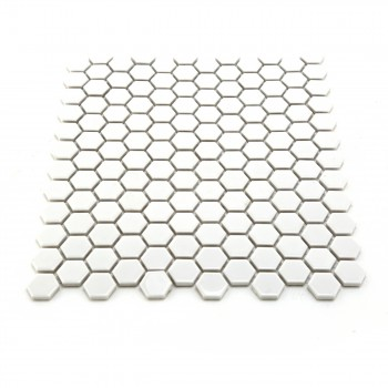 Porcelain Mosaic Hexagon Glossy White Floor and Wall Tile, 1 Tile 10.25