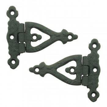 3 Inch Black Wrought Iron Door Hinge Strap RSF Finish Barn Door Hinges Pack of 2