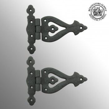 5 Inch Black Wrought Iron Door Hinge RSF Finish Barn Door Hinges Pack of 2 wrought iron door hinges Barn Door Hinges Strap Hinge